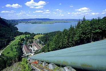 View at Walchensee power plant, Kochelsee, Bavaria, Germany, Europe