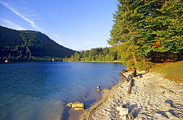 Woman on shore of Walchensee in the light of the evening sun, Walchensee, Bavaria Germany, Europe