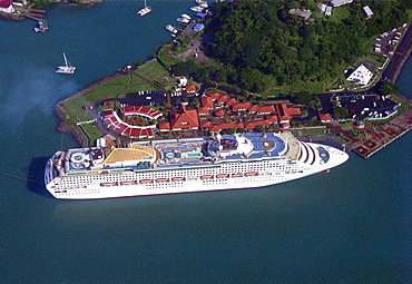 Aerial view of cruise ship, Castries, St. Lucia, Caribbean, America