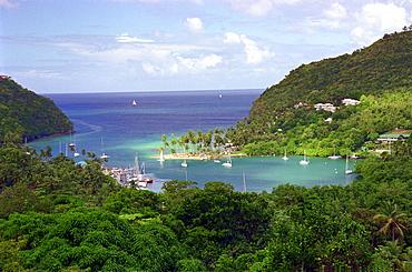 Idyllic bay under clouded sky, Marigot Bay, St. Lucia, Caribbean, America