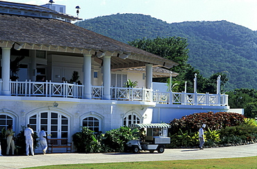 People in front of a building of the White Witch Golf Club, Rose Hall, Jamaica, Caribbean, America