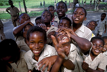 A group of laughing children on the schoolyard, Port Antonio, Jamaica, Carribean