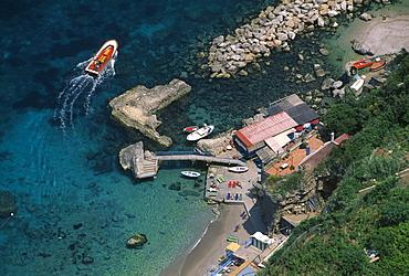 View at Tiberio Beach at Villa San Michele, Capri, Campania, Italy