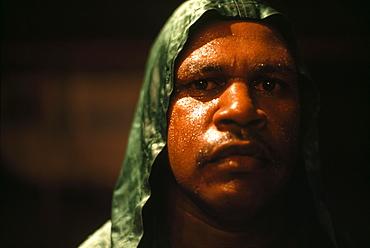 Boxer Zederick, portait, Fred Brophy's Boxing Troupe, Australia
