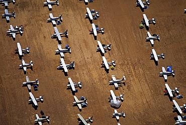 Aerial view of airplanes at Birdsville Airport, Simpson Desert, Queensland, Australia