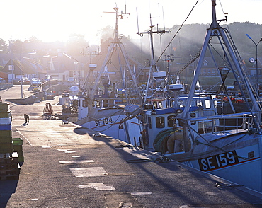 Ships at habour in the sunlight, Arsdale, Bornholm Denmark, Europe