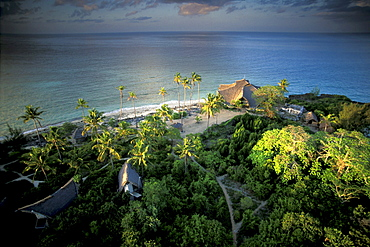 View at bungalows at the nature reserve on Chumbe island under clouded sky, Zanzibar, Tanzania, Africa