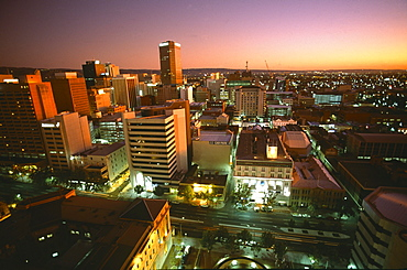 View from the Hyatt Hotel at night, Downtown, Adelaide, South Australia, Australia