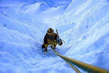 Climber in ice channel, Alpamayo 5.947m, Cordillera Blanca, Peru
