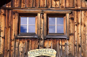 Windows of house, Zwieselalm, Donnerkogel, Gosaukamm, Upper Austria