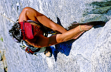 Christian Bogensberger climbing Nutcracker, Alpine climbing, Yosemite Valley, California, USA