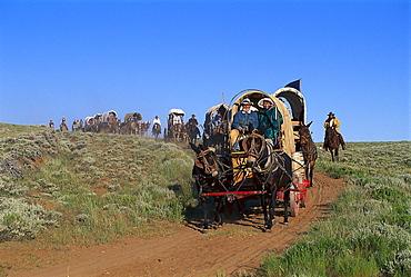 Mormon Pioneer Wagon Train, near South Pass, Wyoming USA