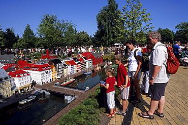 Family at Legoland, Lego Copenhagen Nyhavn, Legoland, Billund, Central Jutland, Denmark