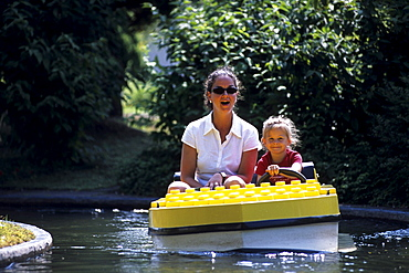 Mother and Child in a Lego Boat, Legoland, Billund, Central Jutland, Denmark