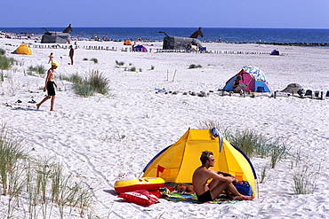 Relaxing on Blavand Beach, Blavand, Southern Jutland, Denmark