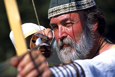 Archery Demonstration, Ribe Vikingecenter, Ribe, Viking centre, Southern Jutland, Denmark