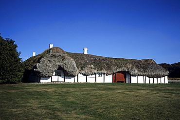 House with traditional seaweed roof, Local history museum, Near Byrum, Laeso, Denmark