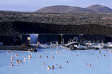 Bathing in Blue Lagoon, Svartsengi Geothermal Plant, Near Grindavik, Iceland