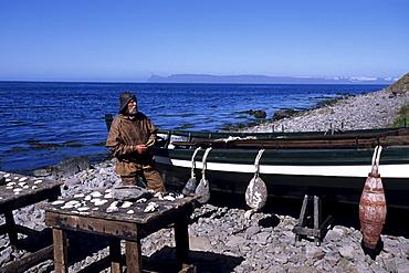 Man in Whaler Costume, 19th Century Fishing Station, Bolungarvik, Iceland