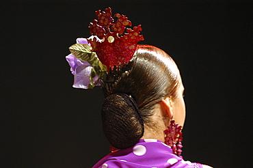 Flamenco Hairstyle, World Flamenco Fair, Sevilla, Andalusia, Spain