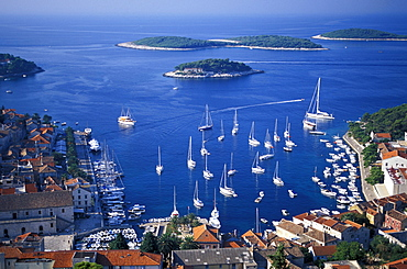 Part and Paklinski islands in background, Hvar, Hvar Island, Dalmatia, Croatia
