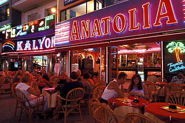 Restaurant with visitors in the evening, Marmaris, Turkey