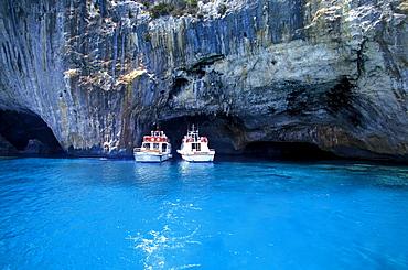 Entry to Grotto di Blue Marino, Golfo di Orosei, Ogliastra, Sardinia, Italy