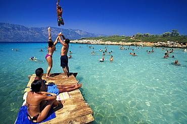 People in the Cleopatra Beach, Marmaris, Turkey