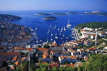 View of seaport Hvar, Island of Hvar, Dalmatia, Croatia, Europe