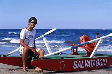 Lifeguard and rowing boat on the beach, Rimini, Adriatic Coast, Italy, Europe