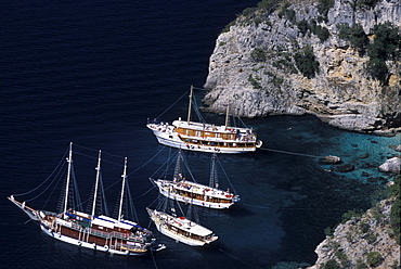 View of excursion boats at Kvarner Gulf at Cres island, Croatia, Europe