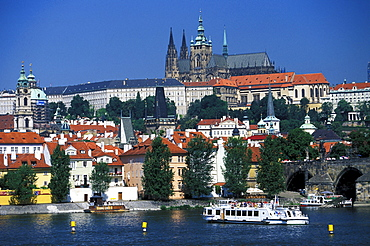 View of Charles Bridge, Vltava river and Hradcany district, Prague, Czechia, Europe