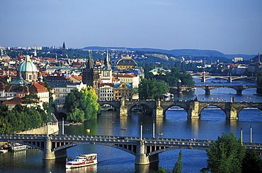 View of Charles Bridge and Vltava river, Prague, Czechia, Europe