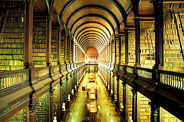 Interior view of the library at the Trinity College, Dublin, Ireland, Europe