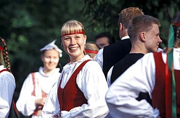 Johannis dancers at Midsummer festival, Seurasaari Island, Helsinki, Finland, Europe