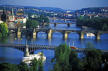 Charles Bridge over the Vltava river, Prague, Czech Republic