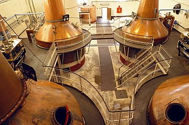 Copper still pots at Ben Nevis distillery, Fort William, Invernesshire, Scotland, Great Britain, Europe