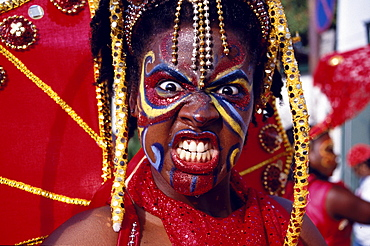 Woman in costume dancing at Mardi Gras, Carnival, Port of Spain, Trinidad and Tobago, Caribbean
