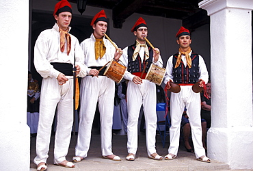 Four men wearing traditional clothes and playing tradional misic, Folklore, Sant Miquel, Ibiza, Balearic Islands, Spain