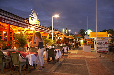 Restaurants in the evening light, tables along the Marina, Le Gosier, Pointe-a-Pitre, Grande Terre, Guadeloupe, Caribbean Sea, America