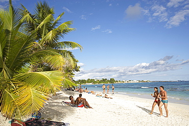 People on the beach, Plage de Raisins Claires, Saint Francois, Basse-Terre, Guadeloupe, Caribbean Sea, America