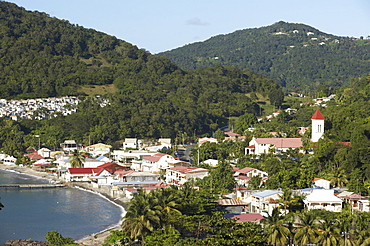Aerial view of the harbour of Deshaies, Basse-Terre, Guadeloupe, Caribbean, America