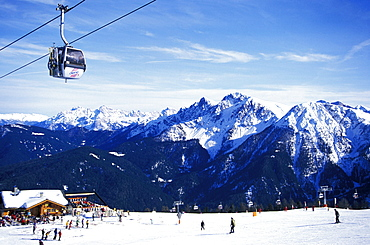 Cable car and people in front of a ski hut, Olang, Kronplatz, Plan de Corones, Dolomites, South Tyrol, Italy, Europe
