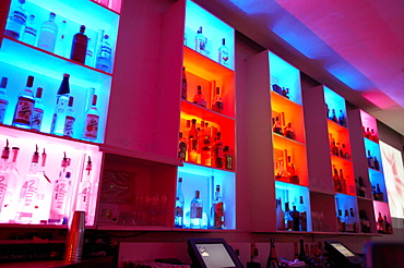 Illuminated glass rack at the BED a Restaurant, Lounge and Nightclub, South Beach, Miami, Florida, USA, America