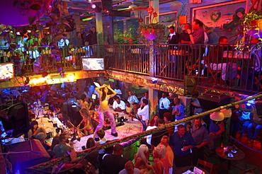 People in Mango's Tropical Cafe, Ocean Drive, South Beach, Miami, Florida, USA, America