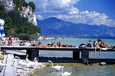 Pebbled beach, Sirmione, Lake Garda, Trentino, Italy