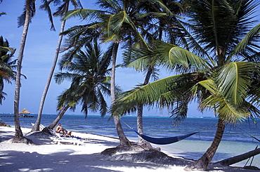 Hotel Beach, San Pedro, Ambergris Caye, Belize, Caribbean Sea, Carribean, Central America, North America