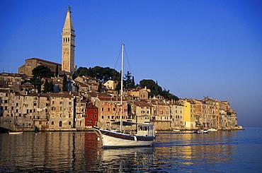 View of the fishing boat and Rovinj from sea, Rovinj, Istria, Croatia