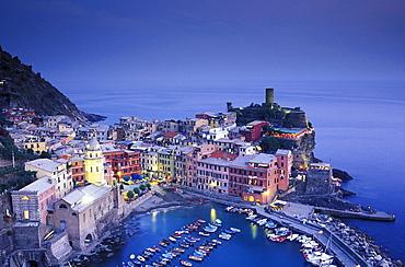 Vernazza in the evening, view from above, Cinque Terre, Liguria, Italia