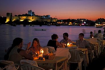 Restaurant at the sea in the evening, Nightlife, Bodrum, Turkey